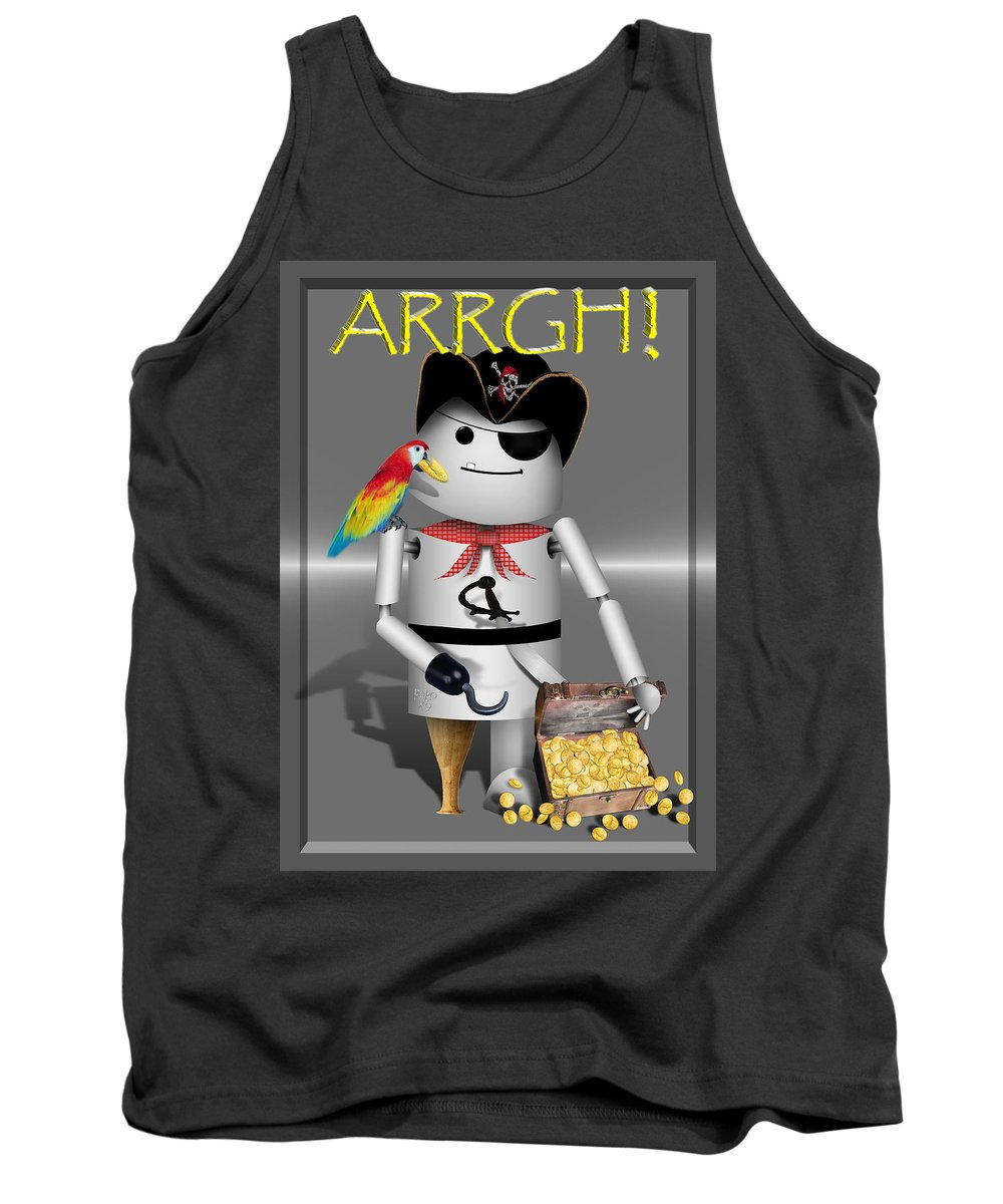 Gravityx9 Tank Top featuring the mixed media Robo-x9 The Pirate by Gravityx9 Designs