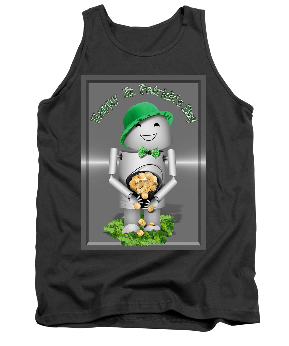 Gravityx9 Tank Top featuring the mixed media Robo-x9 With A Pot Of Gold by Gravityx9  Designs