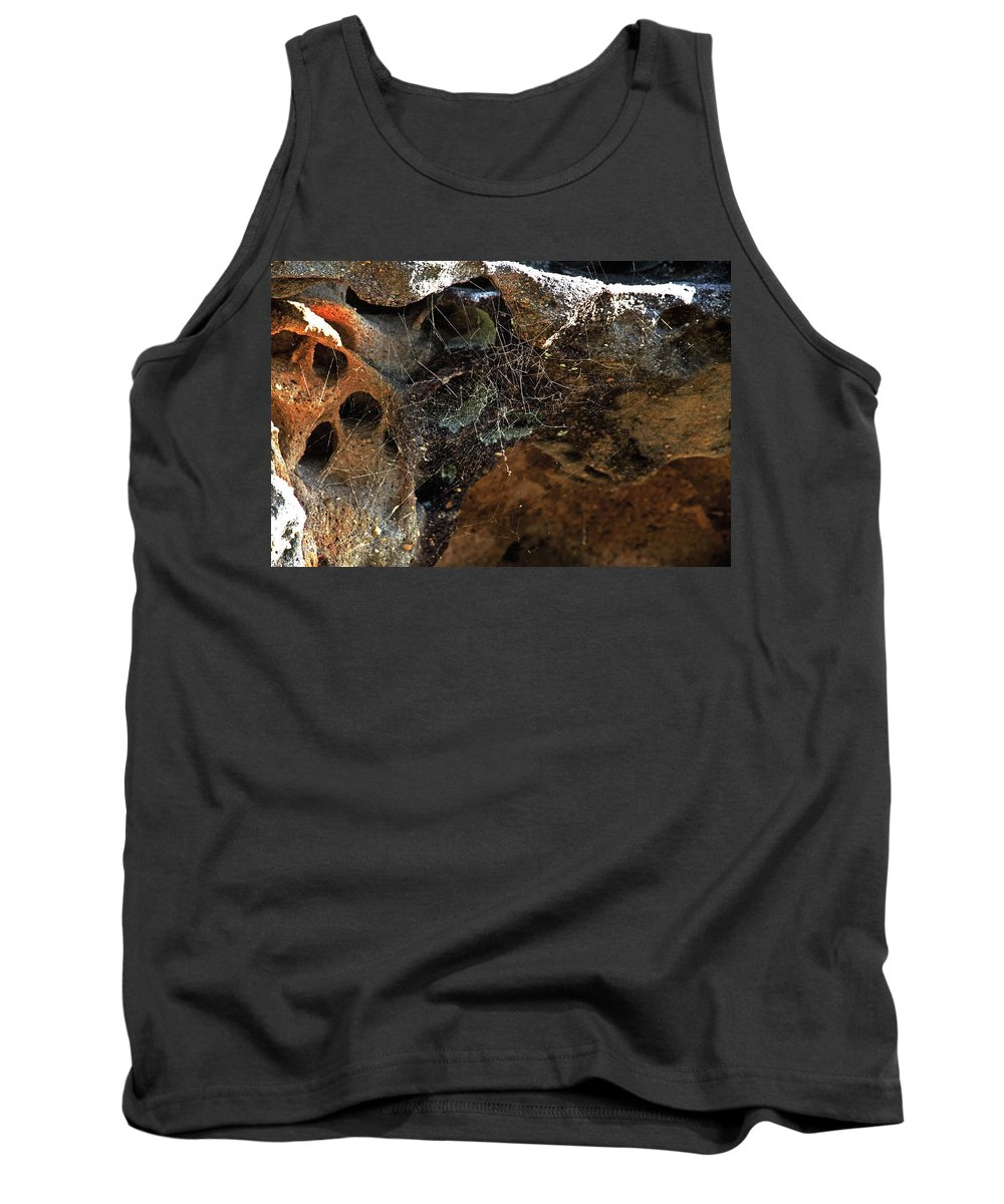 Rock Tank Top featuring the photograph Rock Abstract With A Web by Miroslava Jurcik