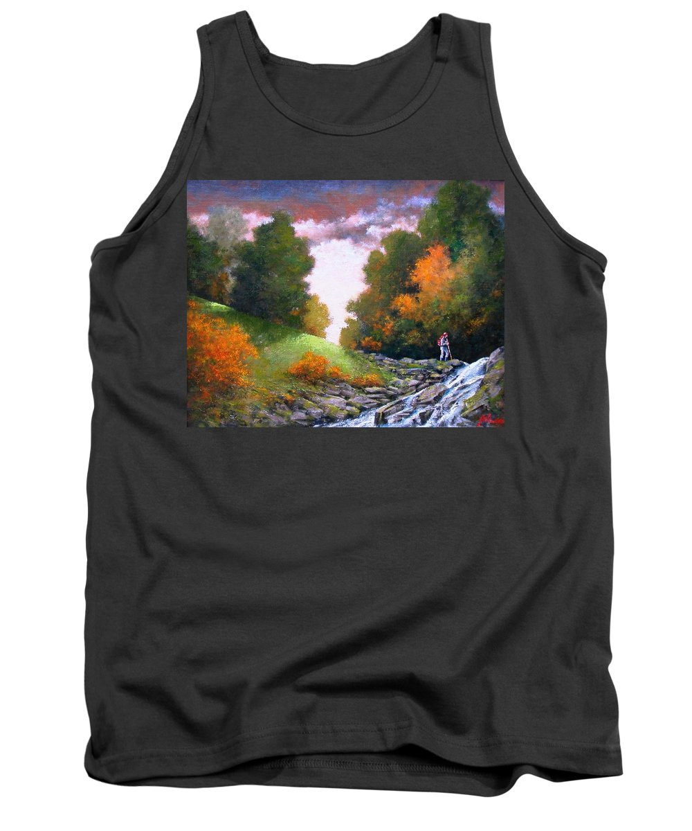 Artist Tank Top featuring the painting Rock Creek by Jim Gola