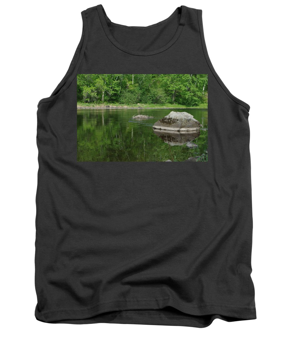 Summer Tank Top featuring the photograph Rock Reflection In The River by Alice Markham