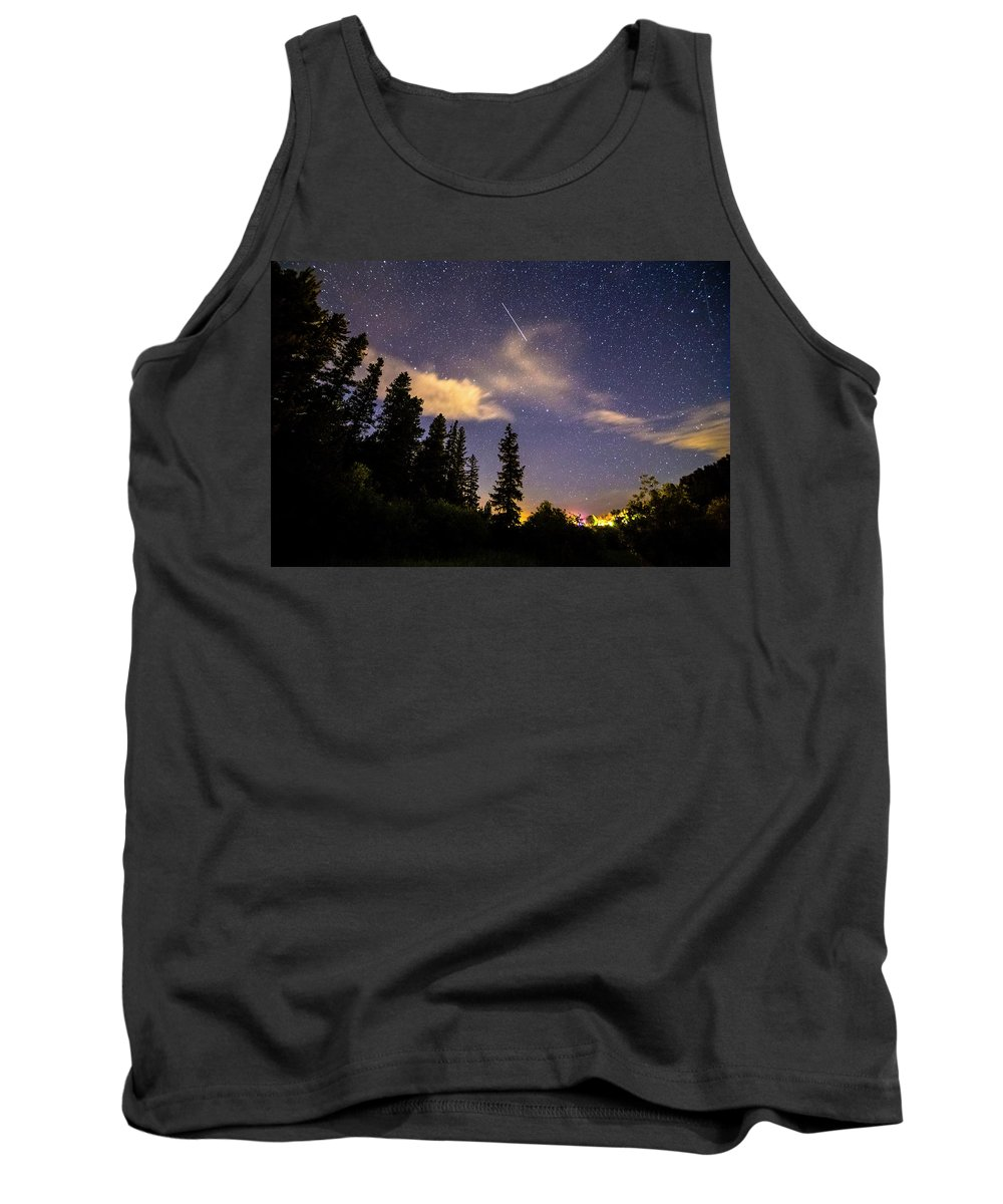 Night Tank Top featuring the photograph Rocky Mountain Falling Star by James BO Insogna