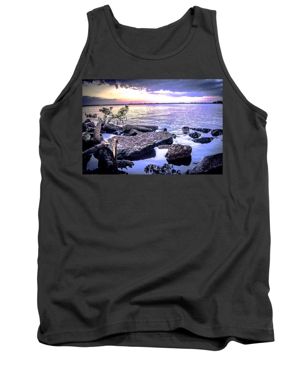 Rocky River Shore Tank Top featuring the photograph Rocky River Shore by Michael Frizzell