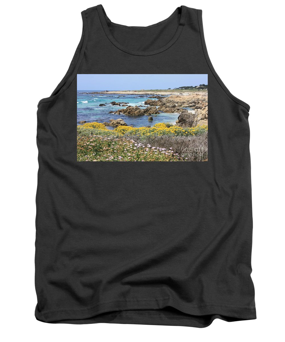 Ocean Tank Top featuring the photograph Rocky Surf With Wildflowers by Carol Groenen