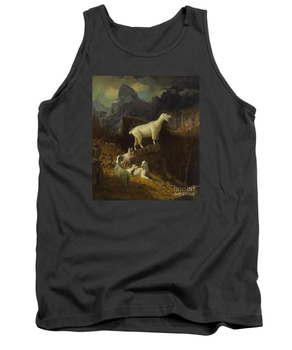 Albert_bierstadt_-_rocky_mountain_goats Tank Top featuring the painting Rocky_mountain_goats by Celestial Images