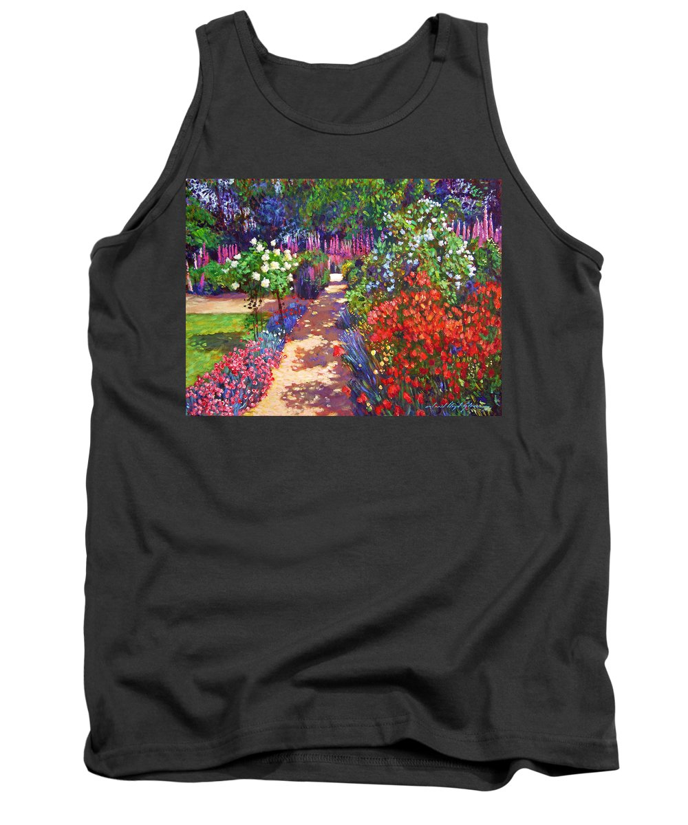 Impressionism Tank Top featuring the painting Romantic Garden Walk by David Lloyd Glover