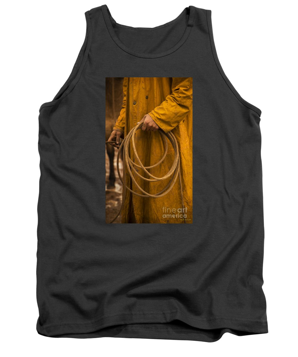 Western Tank Top featuring the photograph Roping Broncos by Phyllis Webster