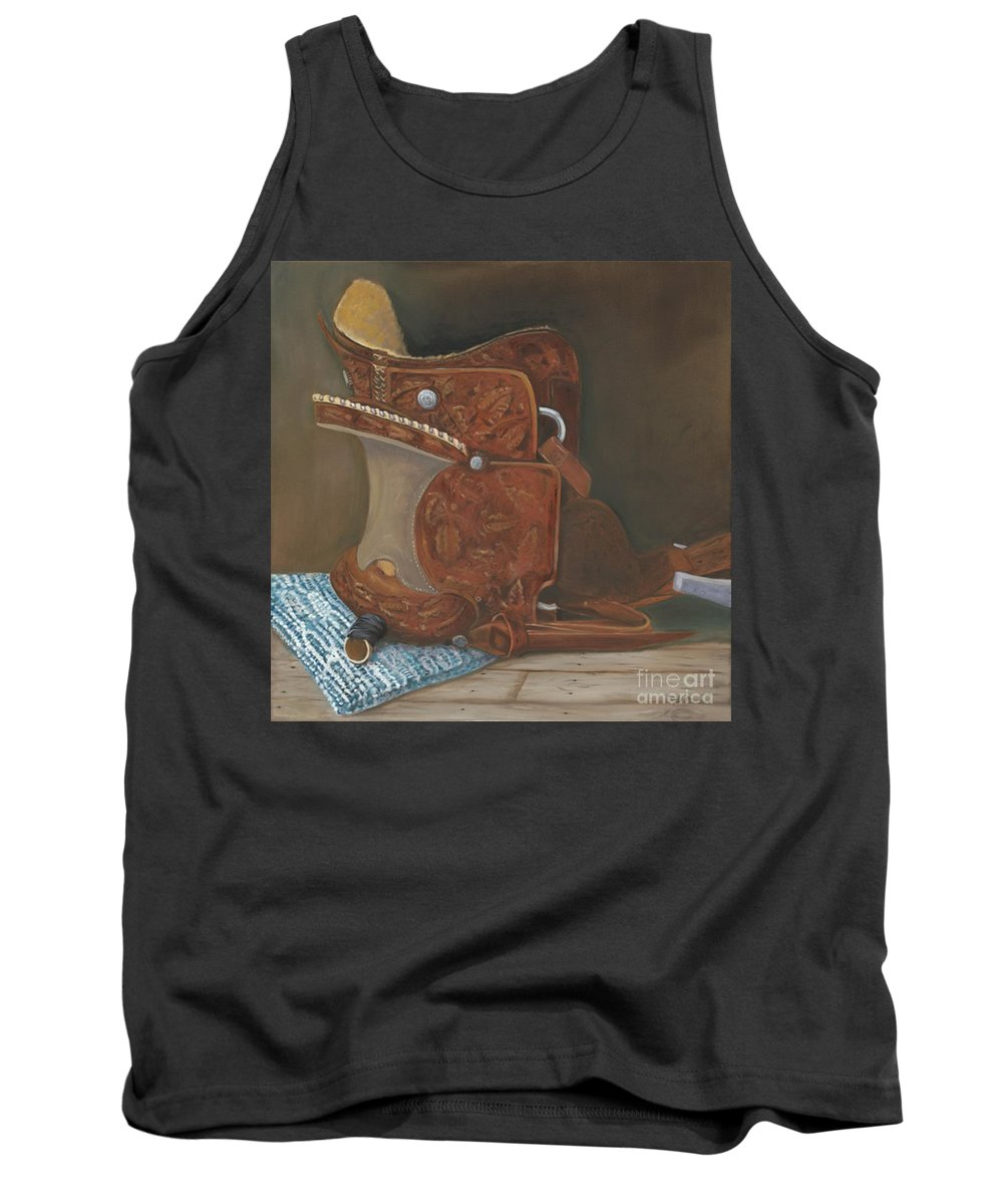 Saddle Tank Top featuring the painting Roping Saddle by Mendy Pedersen