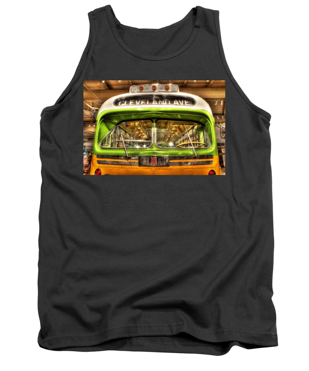 King Kong Tank Top featuring the photograph Rosa Parks Bus Dearborn Mi by Nicholas Grunas