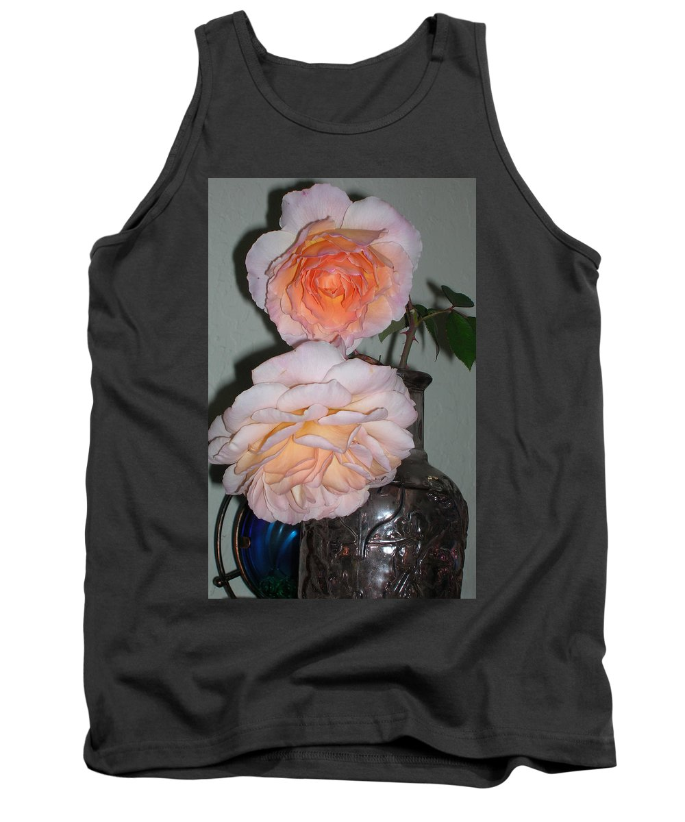 Rose Tank Top featuring the photograph Rose Duet by Carolyn Donnell