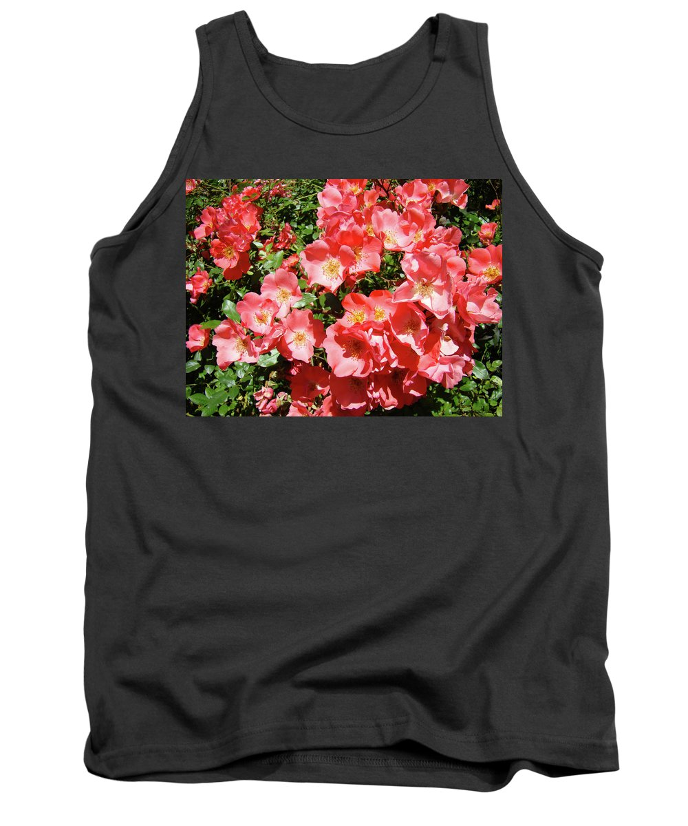 Rose Tank Top featuring the photograph Rose Garden Pink Roses Botanical Landscape Baslee Troutman by Baslee Troutman