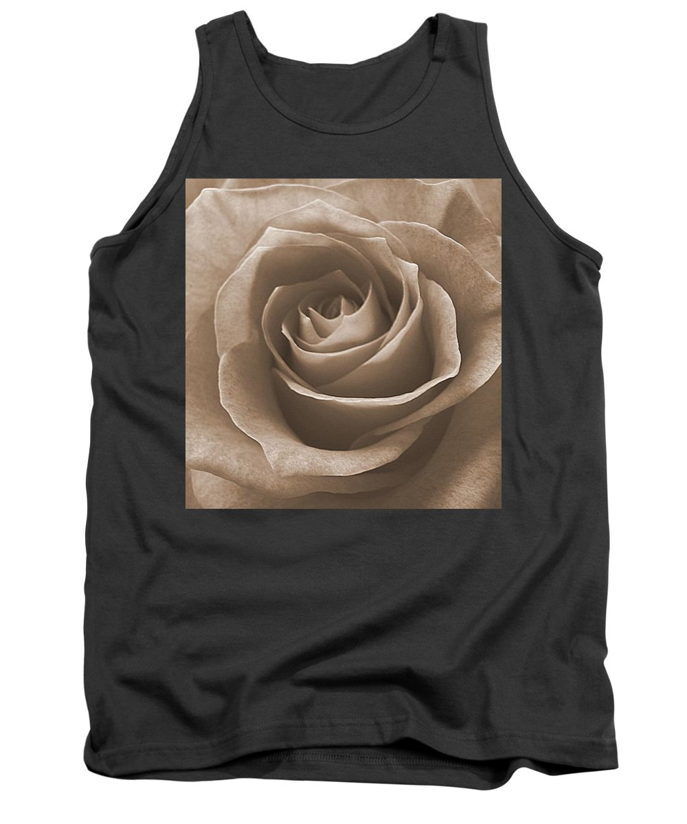 Rose Sepia Pedals Tank Top featuring the photograph Rose In Sepia by Luciana Seymour