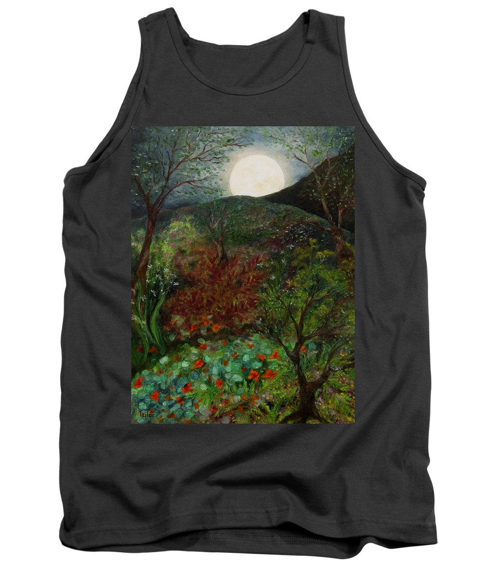 Forest Tank Top featuring the painting Rose Moon by FT McKinstry