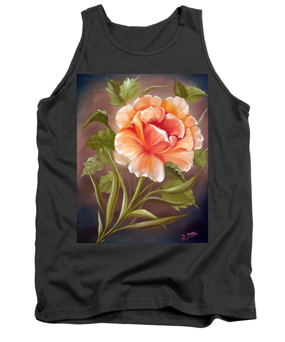 Rose Tank Top featuring the painting Rose Tropicana by David G Paul