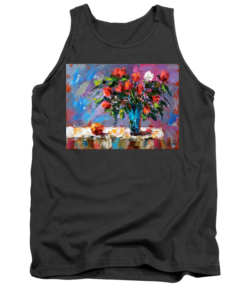 Flowers Tank Top featuring the painting Roses And A Peach by Debra Hurd