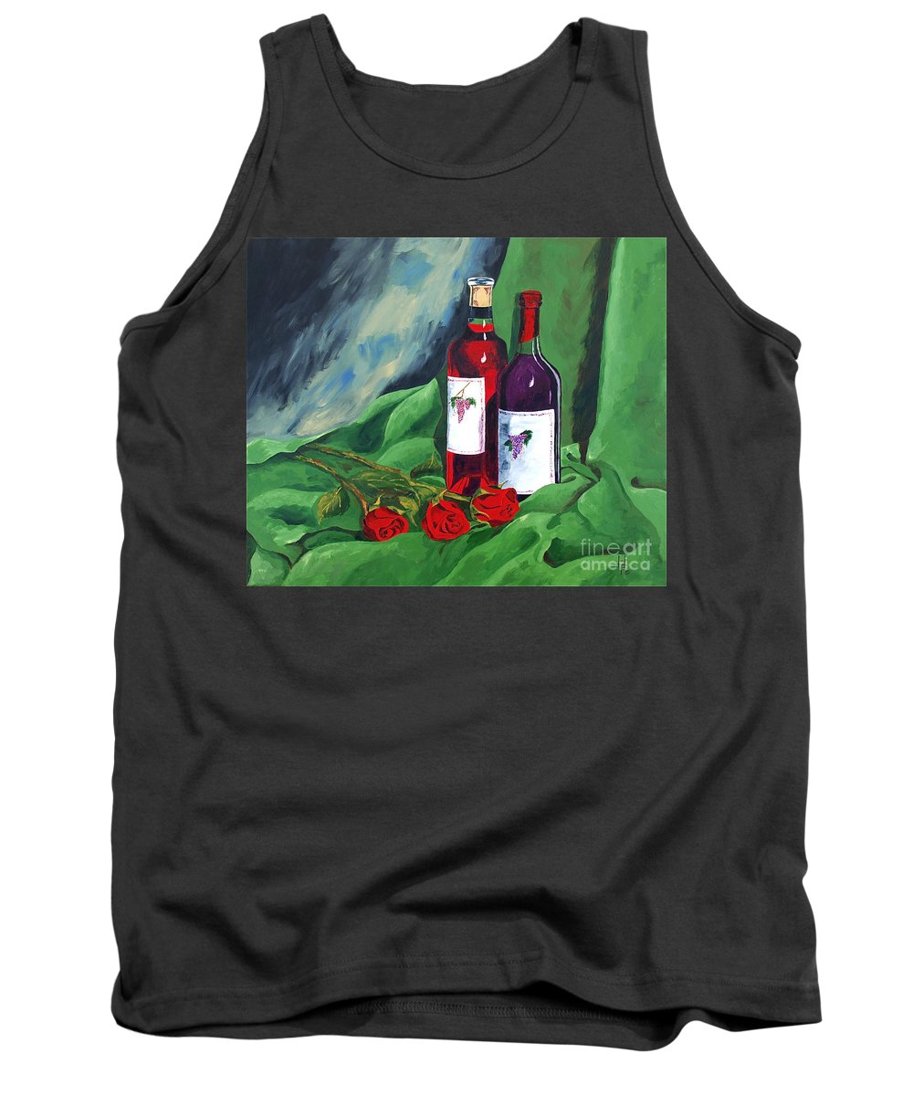 Wine And Roses Red Roses Red Wine Still Life Tank Top featuring the painting Roses And Wine by Herschel Fall