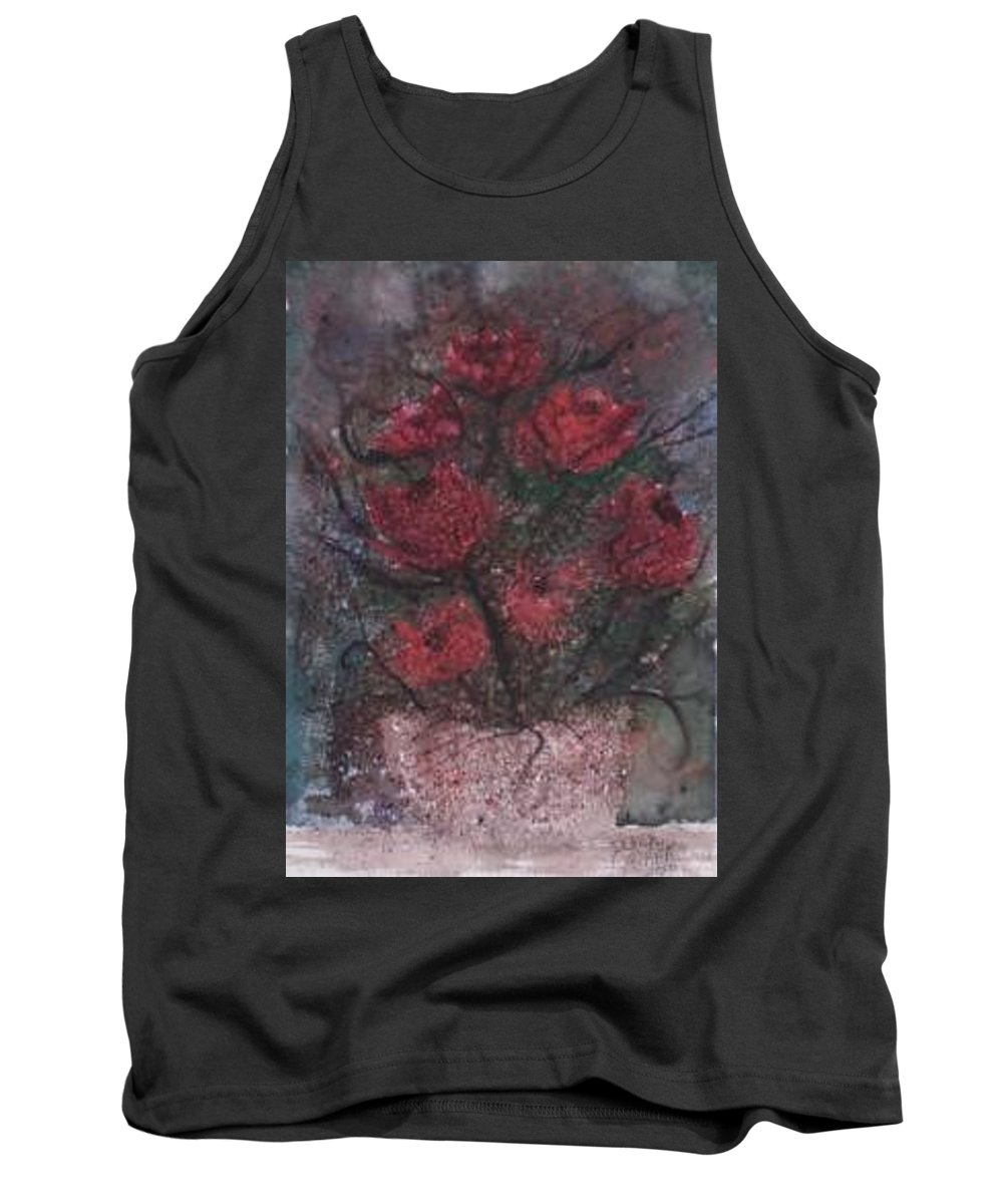 Watercolor Tank Top featuring the painting Roses At Night Gothic Surreal Modern Painting Poster Print by Derek Mccrea
