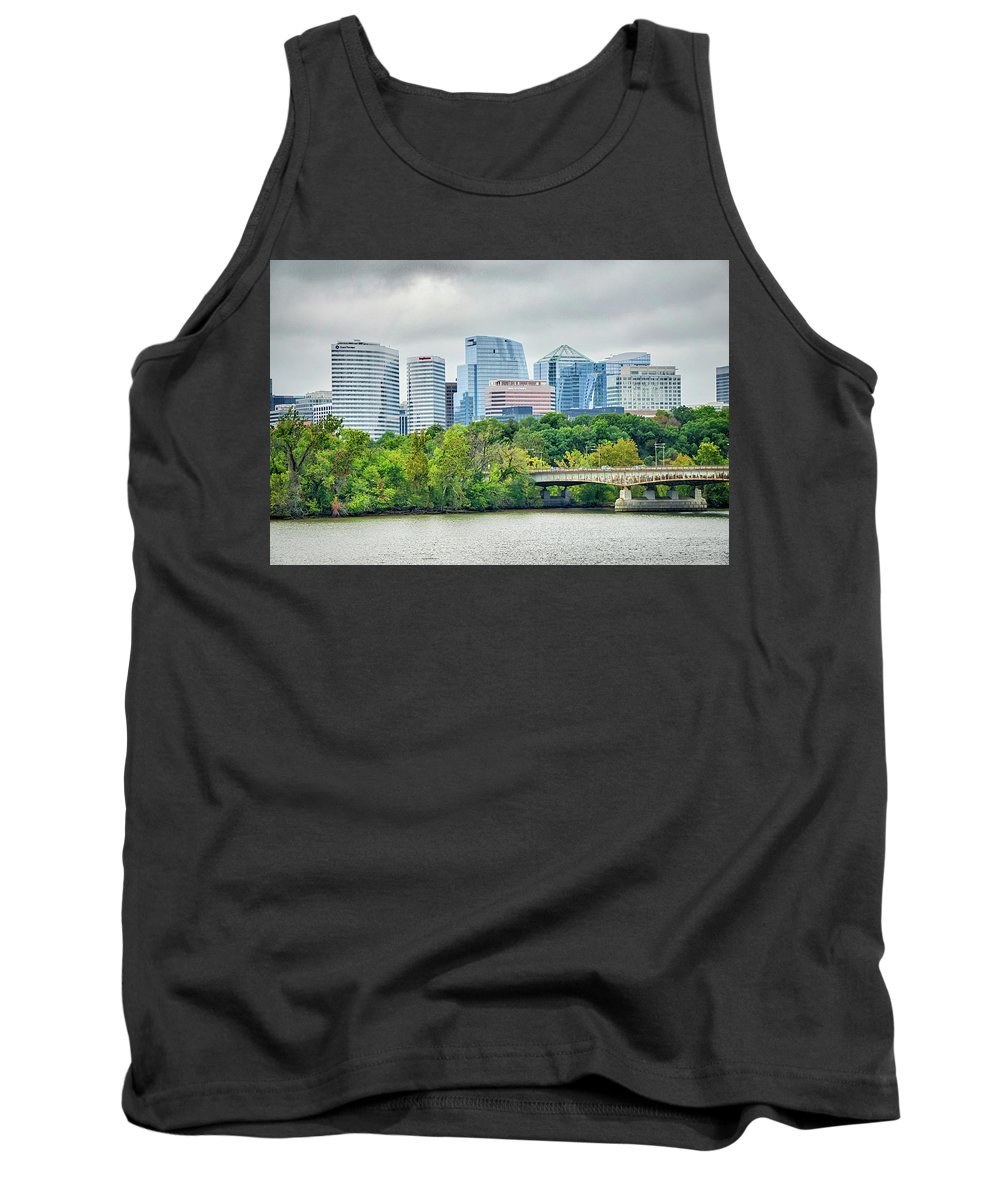 Skyline Tank Top featuring the photograph Rosslyn Distric Arlington Skyline Across River From Washington D by Alex Grichenko