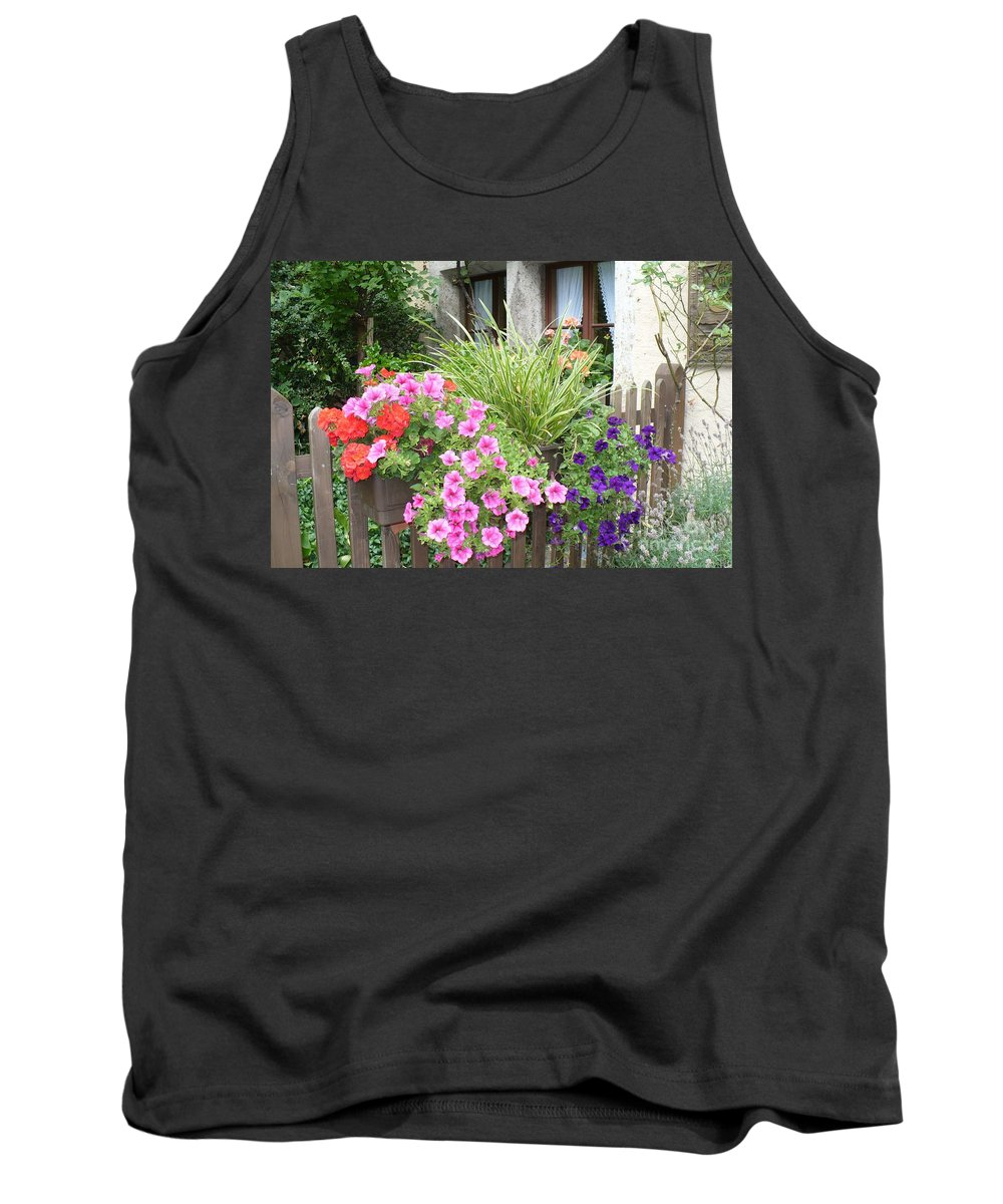 Garden Tank Top featuring the photograph Rothenburg Flower Box by Carol Groenen