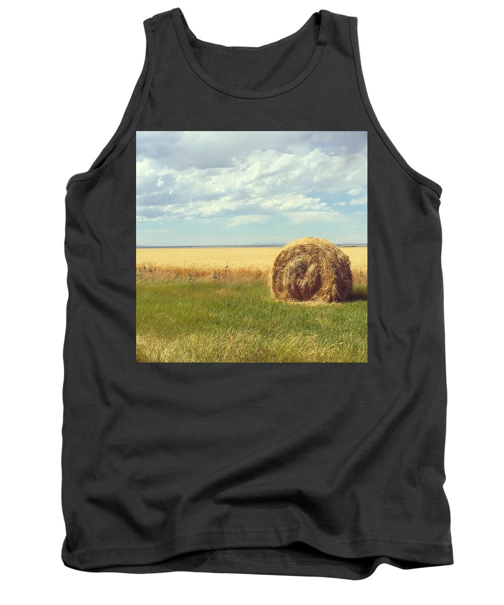 Landscape Tank Top featuring the photograph Round Bale by Chantel Schieffer