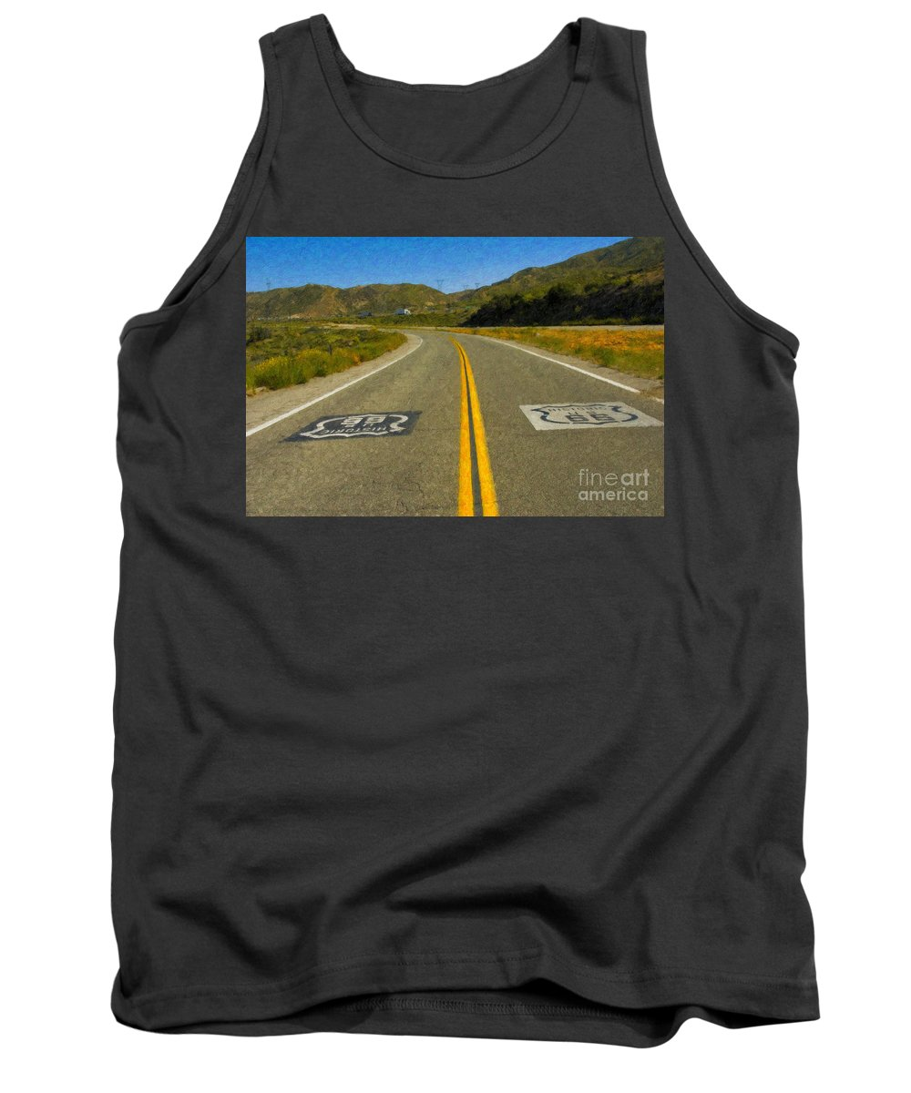 National Tank Top featuring the photograph Route 66 National Historic Road by David Zanzinger