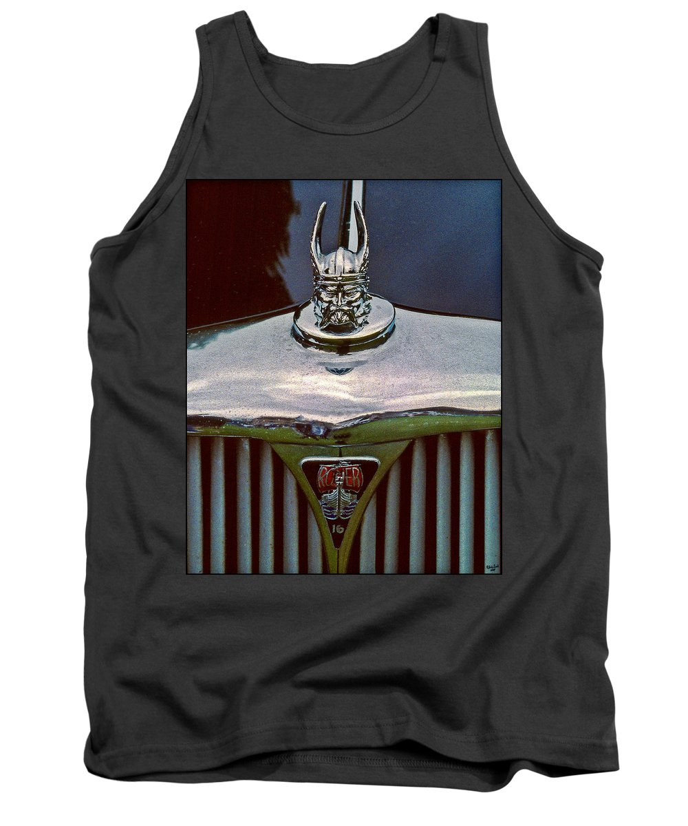 Vintage Tank Top featuring the photograph Rover Radiator And Hood Ornament by Chris Lord