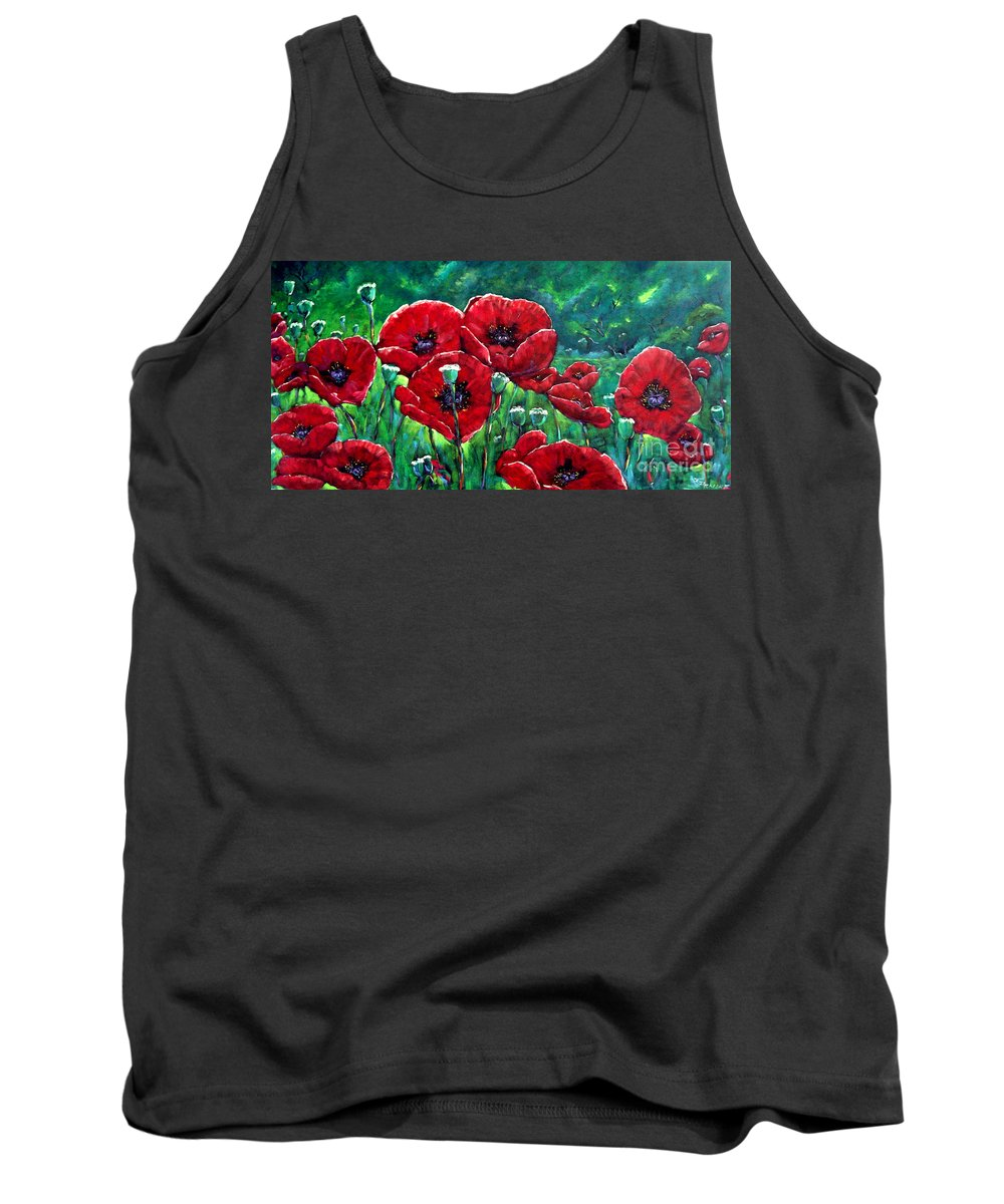 Forest Tank Top featuring the painting Rubies In The Emerald Forest by Richard T Pranke