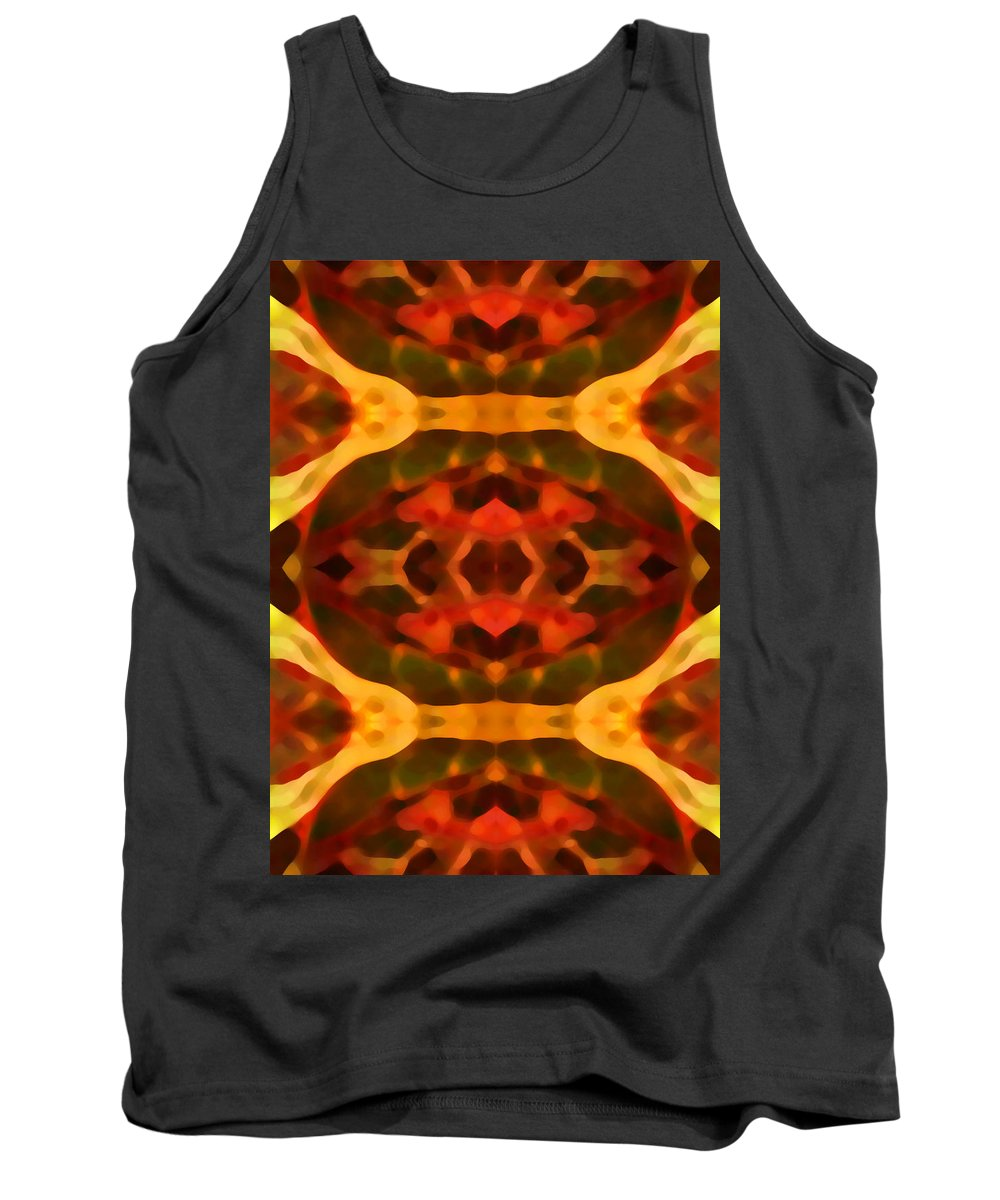 Abstract Painting Tank Top featuring the digital art Ruby Crystal Pattern by Amy Vangsgard