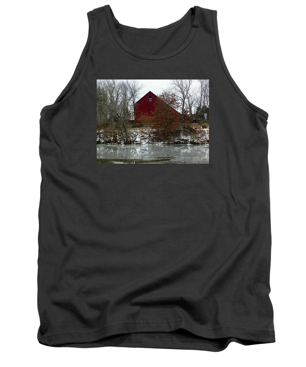 Barn Tank Top featuring the photograph Rustic Barn By The Frozen Lake by Tammy Miller