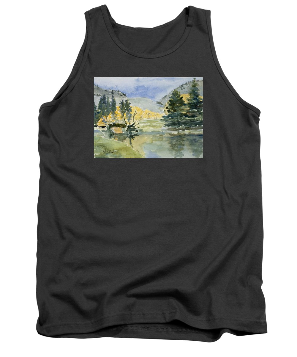 Watercolor Tank Top featuring the painting Rustic Reflections by Mary Benke