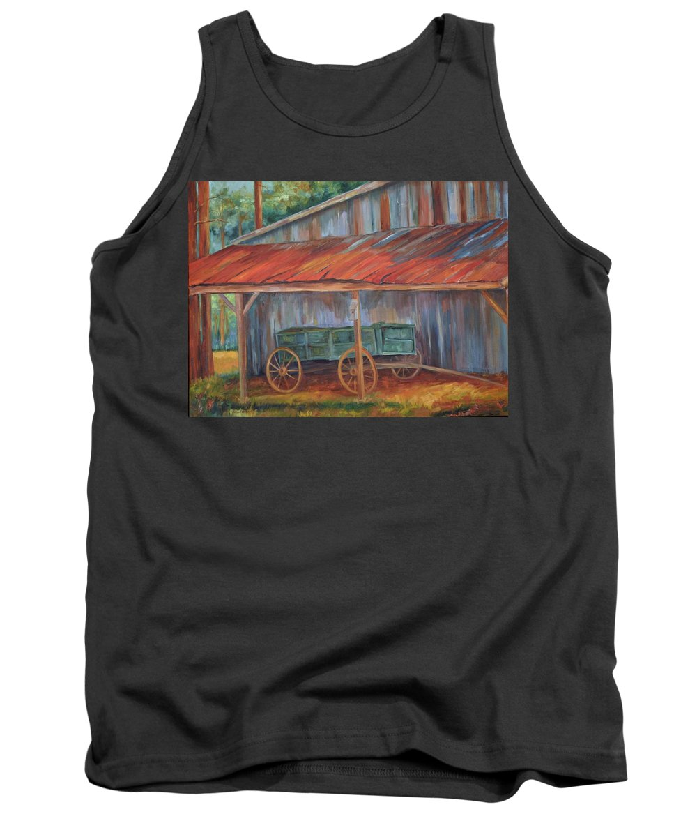 Old Wagons Tank Top featuring the painting Rustification by Ginger Concepcion