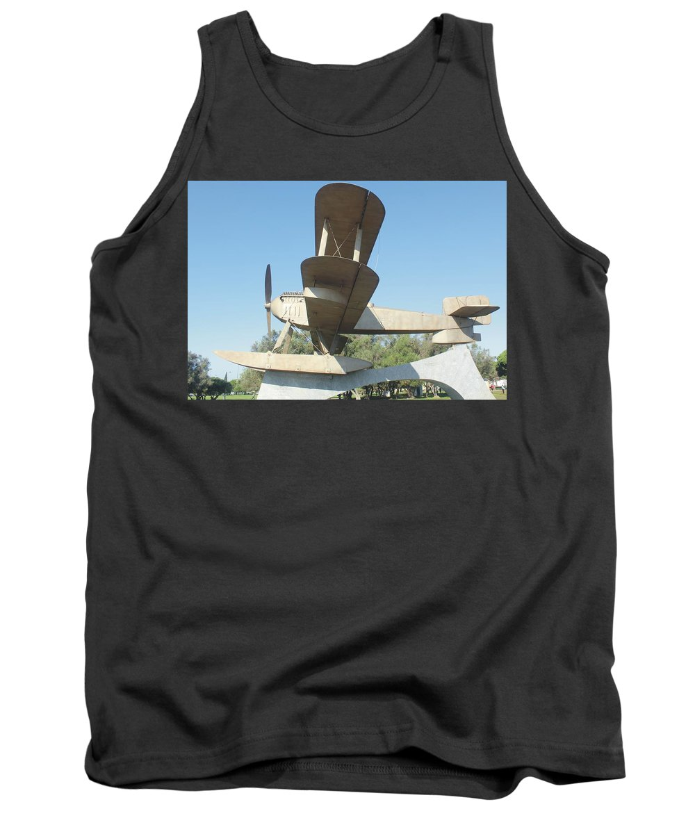 Blue Tank Top featuring the photograph Sacadura Cabral And Gago Coutinho Monument by Michel Poulin