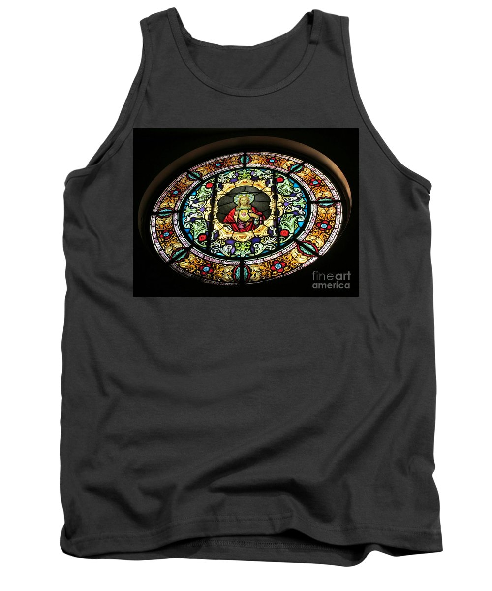 Our Lady Of Victory Basilica Tank Top featuring the photograph Sacred Heart Of Jesus Stained Glass Window by Elizabeth Duggan