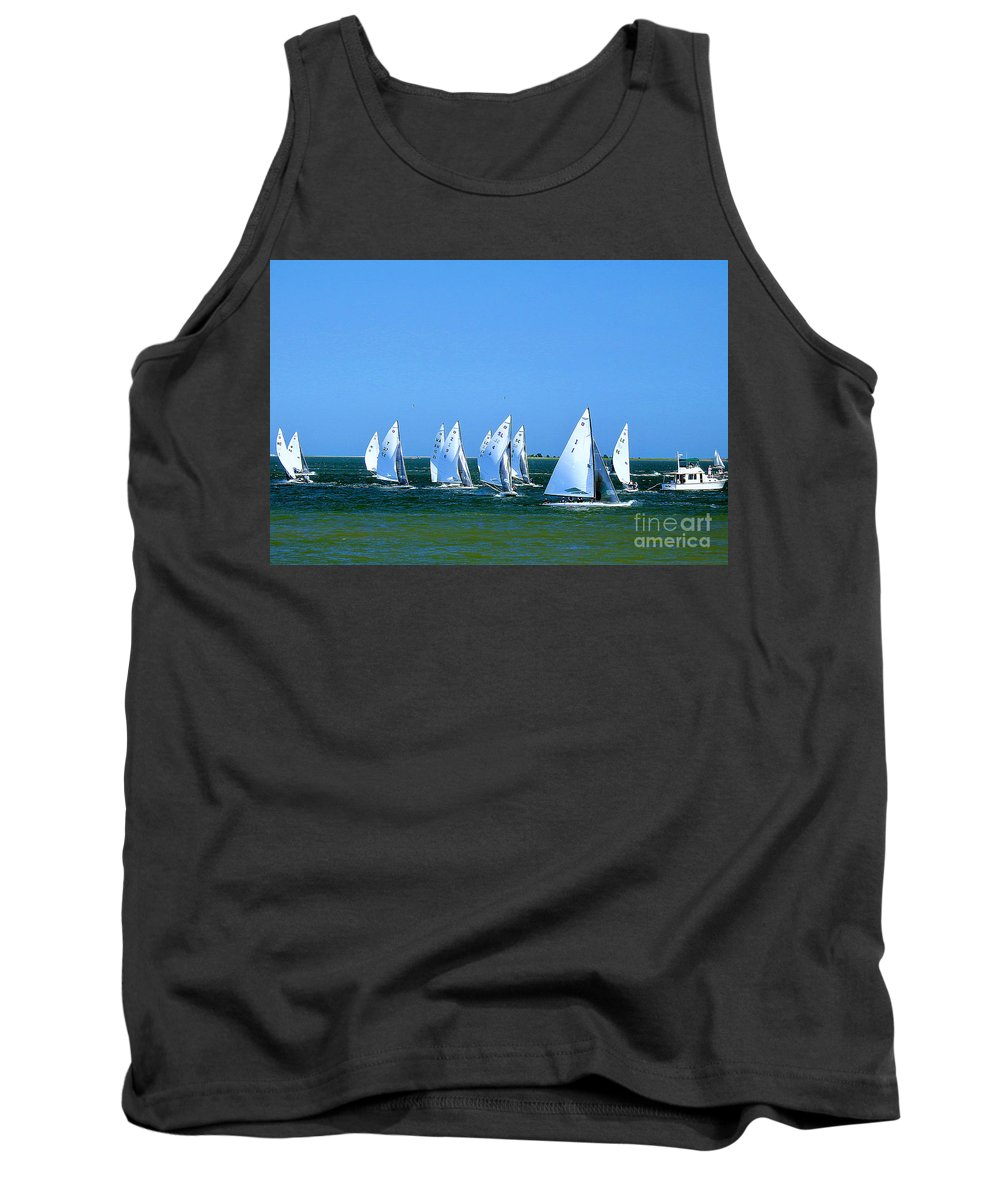 E-scows Tank Top featuring the photograph Sailboat Championship Racing 1 by Scott Cameron