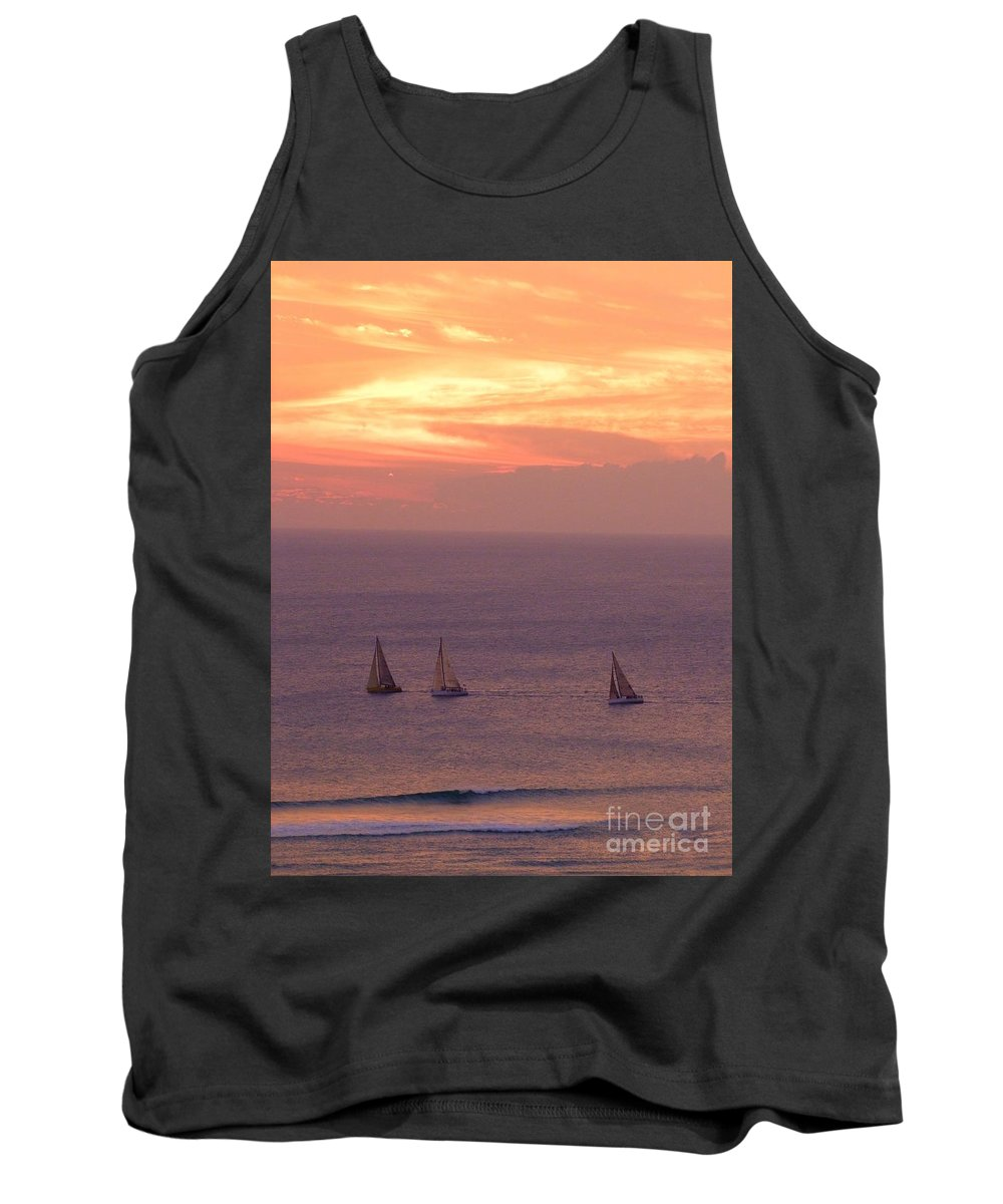 Sailing Tank Top featuring the photograph Sailing In The Golden Glow by Mary Deal