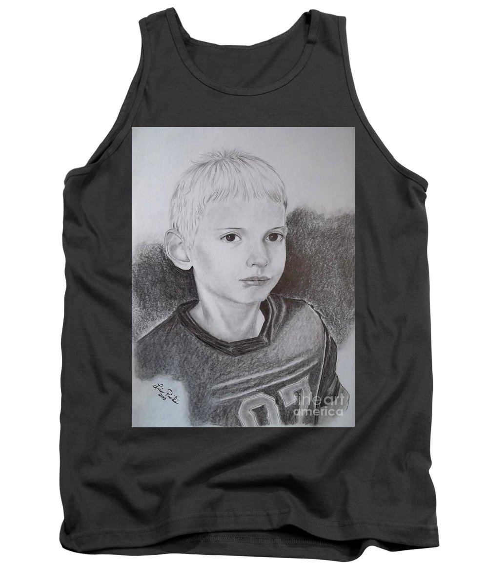 Children Portrait Tank Top featuring the drawing Samuel by Lise PICHE