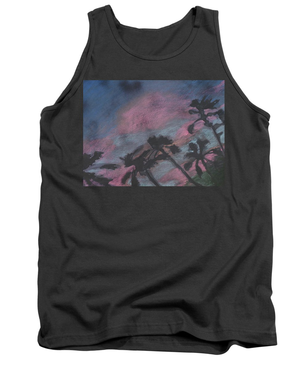 Contemporary Tree Landscapes Tank Top featuring the drawing San Diego Palms by Leah Tomaino