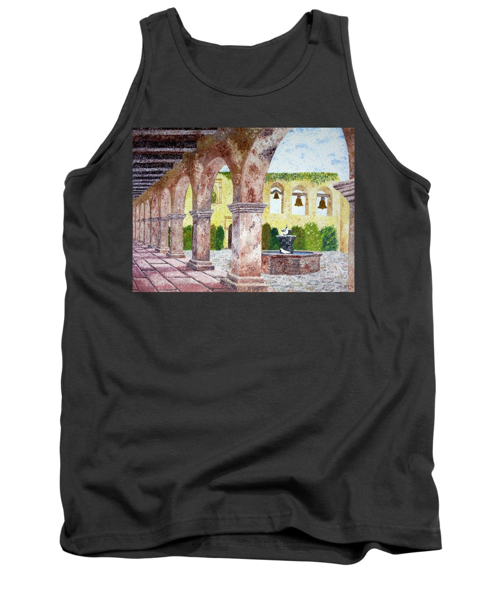 Mission Tank Top featuring the painting San Juan Capistrano Courtyard by Laura Iverson