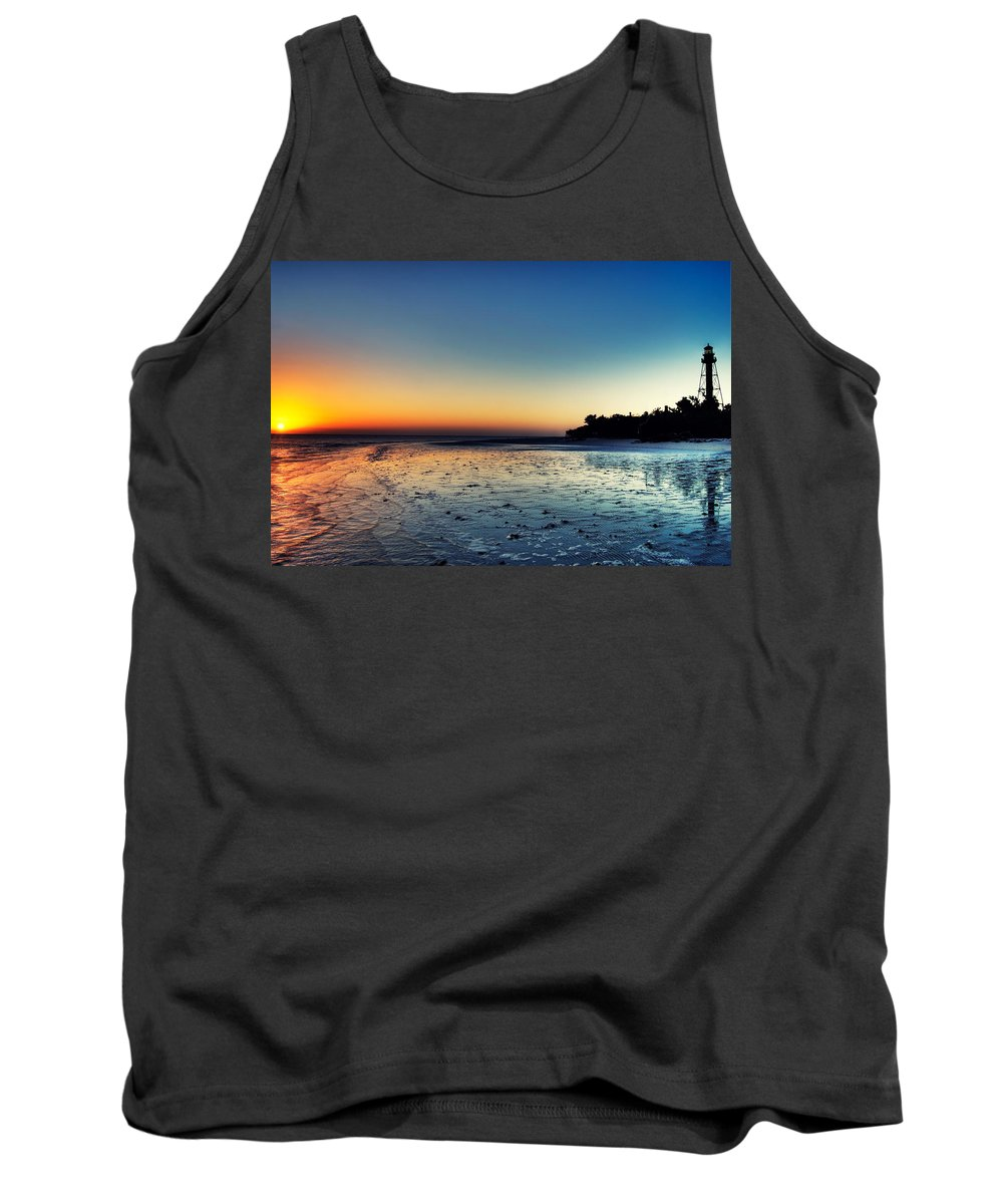 Lighthouse Tank Top featuring the photograph Sanibel Sunrise by Rich Leighton
