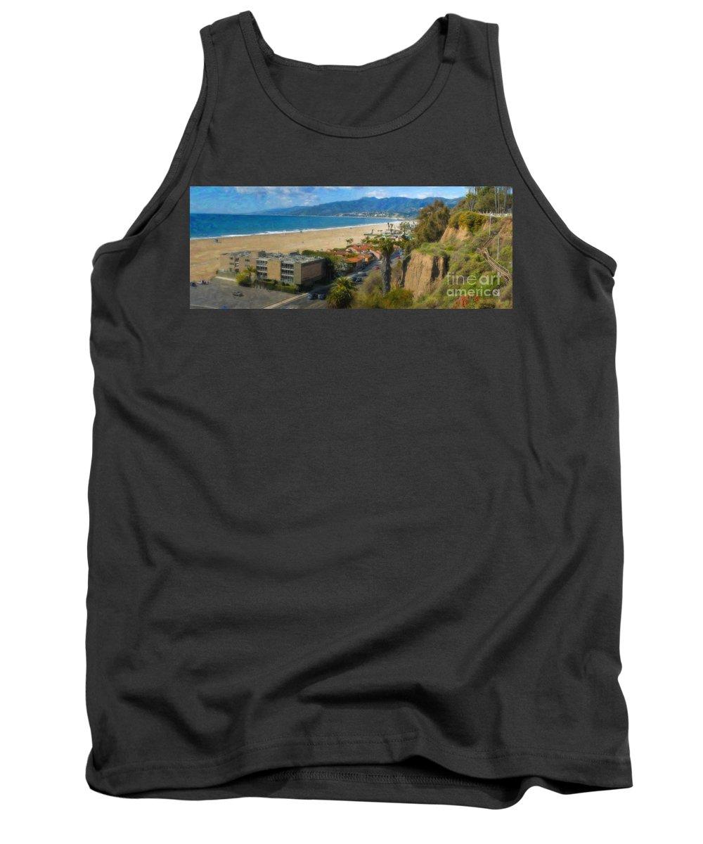 Santa Monica Tank Top featuring the photograph Santa Monica Ca Steps Palisades Park Bluffs by David Zanzinger