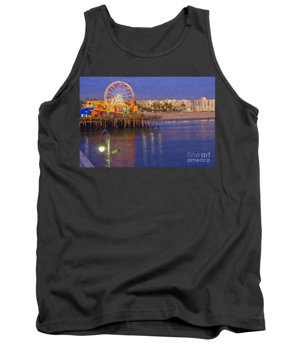 Santa Monica Tank Top featuring the photograph Santa Monica Pacific Park Pier And Lowes Hotel by David Zanzinger