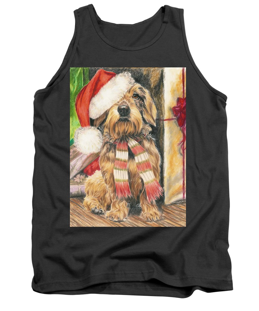 Hound Group Tank Top featuring the drawing Santas Little Yelper by Barbara Keith