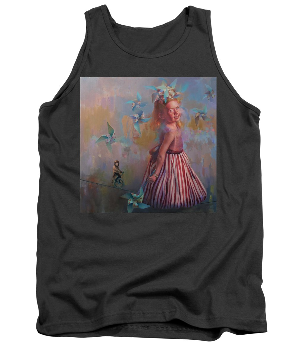 Figurative Tank Top featuring the painting Savanah At Play by Cathy Locke