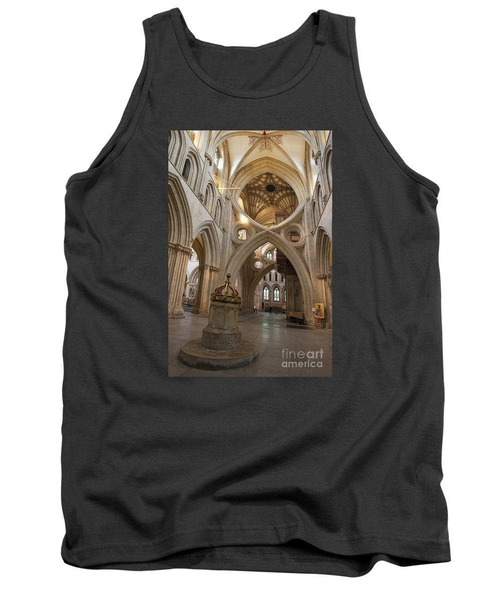 Saxon Tank Top featuring the photograph Saxon Baptismal Font Wells Cathedral, Somerset Uk by Peter Barritt