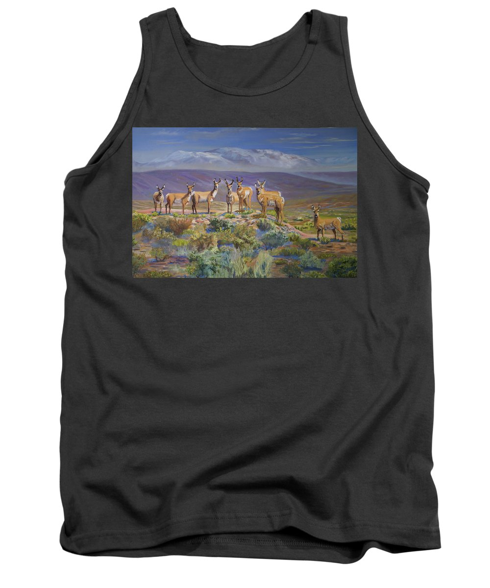 Antelope Tank Top featuring the painting Say Cheese Antelope by Heather Coen