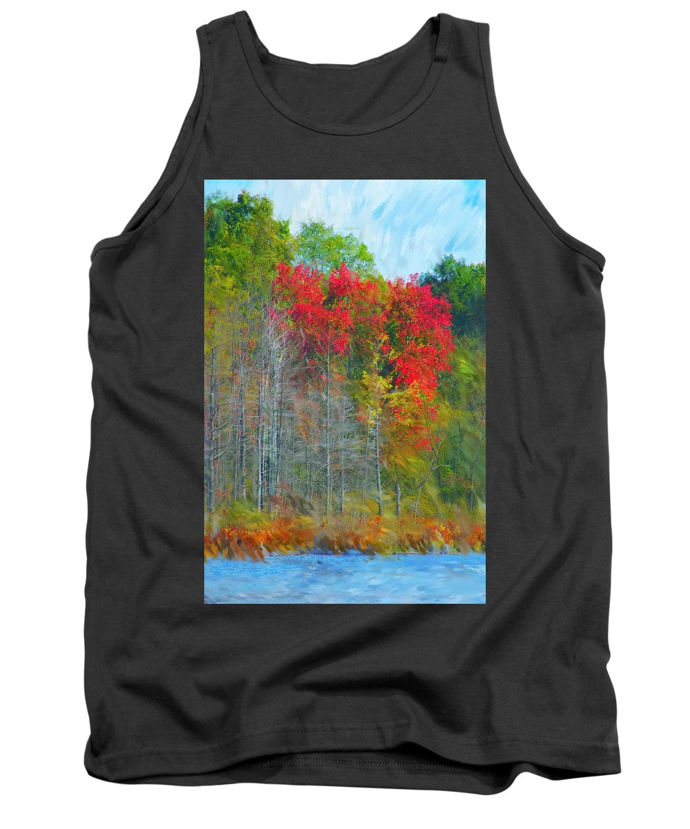 Landscape Tank Top featuring the digital art Scarlet Autumn Burst by David Lane