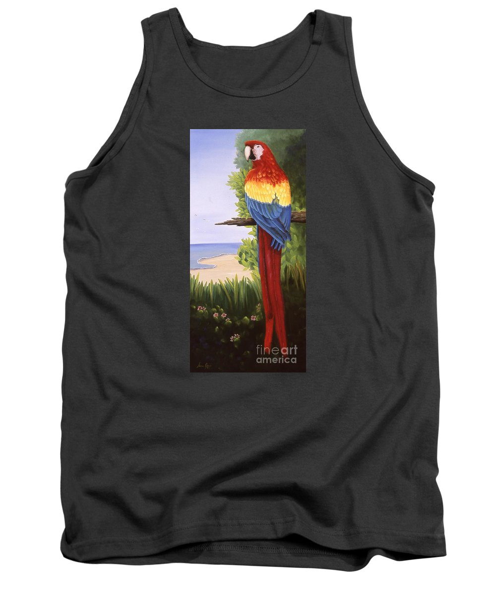 Animal Tank Top featuring the painting Scarlet Macaw by Susan Jump