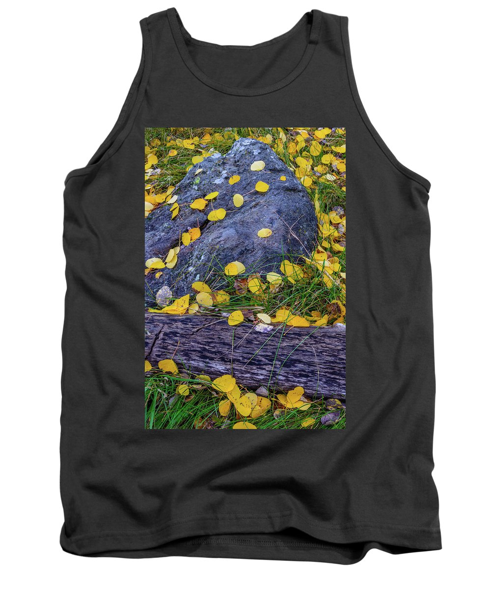 Landscape Tank Top featuring the photograph Scattered Aspen Leaves by Daniel Dean