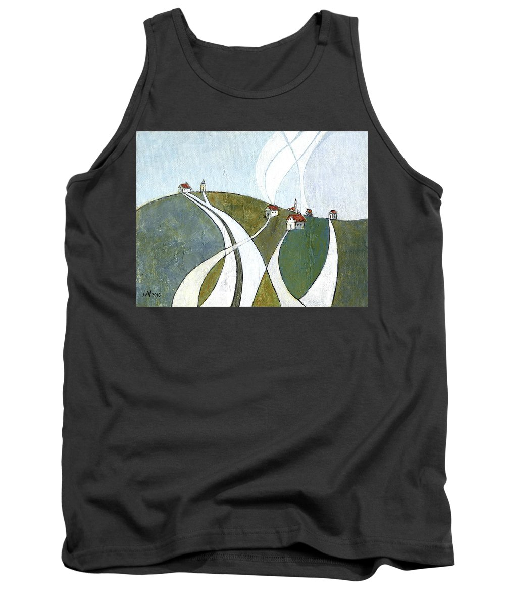 Painting Tank Top featuring the painting Scattered Houses by Aniko Hencz