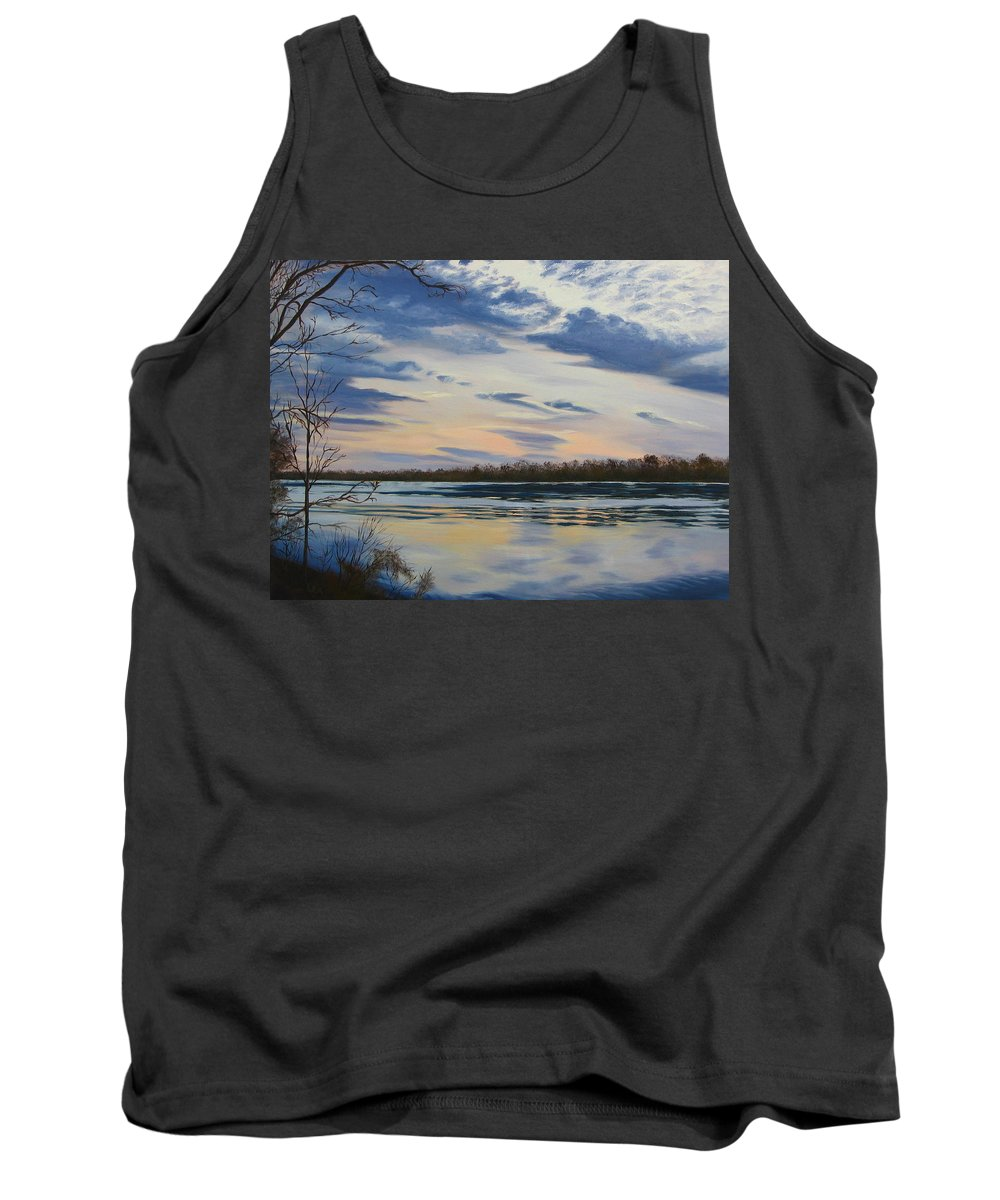Clouds Tank Top featuring the painting Scenic Overlook - Delaware River by Lea Novak